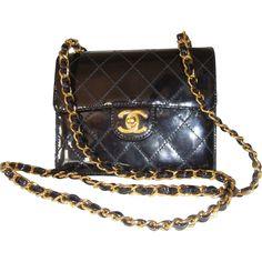Chanel Vintage Authentic Classic Mini Black Patent Leather Purse