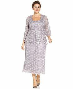 R&M Richards Plus Size Sleeveless Sequined Lace Dress and Jacket - Plus Size Dresses - Plus Sizes - Macy's