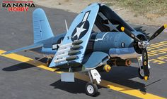BananaHobby - 8 CH BlitzRCWorks 2.4GHz Super F4U Corsair Radio Remote Control Electric RC Warbird Airplane ( ARF )