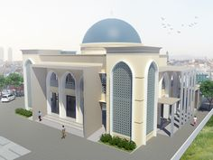 Mosque visualization, design by other. House Arch Design, Small House Design, Mosque Architecture, Modern Architecture, Beautiful Mosques, House Styles, Apc, Robot Art, Mosque