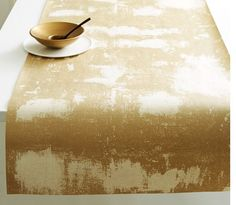 Gold Modern Abstract Paper Table Runner Natural by OurVintageBliss