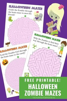 Download these Free Printable Zombie Mazes for Halloween and help the zombies find their way through the brains! If the kids (or you!) are stuck inside for Halloween, then this set of puzzles (with varying difficulty levels) will help to have some creepy fun as you trace your way out! #ThePurplePumpkinBlog #HalloweenPrintables