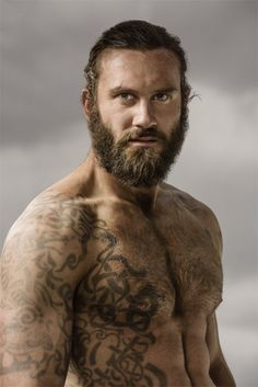 """blackirishlover: """"Clive Standen as Rollo LothbrokThe History Channel show Vikings has some really hot guys. Rollo, played by British stud Clive Standen is one of my favorites. Vikings Tv Series, Vikings Tv Show, Rollo Vikings, Rollo Lothbrok, Viking Men, Lagertha, Travis Fimmel, Beard Tattoo, Tattoo Guys"""