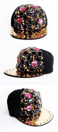 Jewelry Studded Cap   Spring & Summer   Dolly & Molly   www.dollymolly.com   #cap #sporty #trend #fashion #jewelry #mirror #golden #gold #black #refection #street #popteen #kpop #shibuya #style #snap
