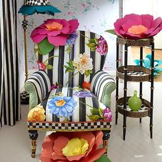 Bounce Into Easter With MacKenzie-Childs — Très Haute Diva Funky Painted Furniture, Painted Chairs, Cool Furniture, Furniture Design, Painted Tables, Farmhouse Floor Lamps, Farmhouse Flooring, Mackenzie Childs Furniture, Old Chairs