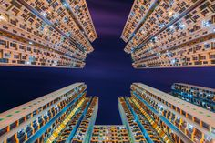 Skyscrapers as seen from the ground up. | Fu Cheong Estate, Hong Kong.