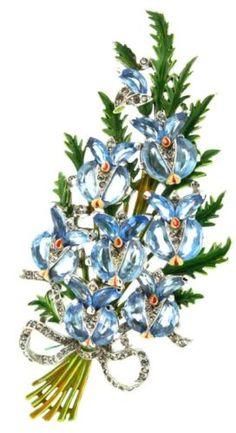 Philippe-TRIFARI-5-Demilune-Demi-Lune-Floral-Spray-Figural-Brooch-Pin-FUR-CLIP