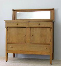 Antique Oak Sideboard Buffet with Beveled Mirror @flea_pop