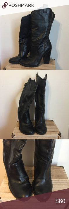 Jessica Simpson leather heel boots Black leather boots, moderate wear, still in great condition! Jessica Simpson Shoes Heeled Boots