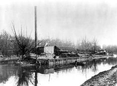The Charcoal Plant of the Austin Powder Company stands  near the Five Mile Lock of the Ohio-Erie Canal, ca. 1870. The facility exploded in 1907. WRHS