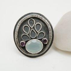Sterling Silver Ring Purple Amethyst Jewelry Aqua Chalcedony