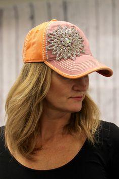 Two Tone Rhinestone Flower Hat