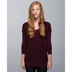 Lululemon. The Sweater Life. Heathered Bordeaux. Good used condition, heathered bordeaux (burgundy). Light pilling on the sides as pictured. Size 6.   no trades ✖️ no holds  offers considered through the offer button ♻️ if it's listed, it's available lululemon athletica Sweaters