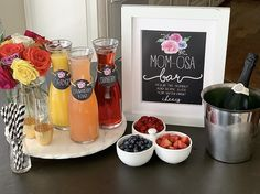 Mom Osa Bara Fun Mimosa Bar For A Ba Shower Or Mothers Day throughout Amazing Mimosa Baby Shower - Party Supplies Ideas Target Dollar Spot, Frose Rezept, Mimosa Bar Sign, Baby Shower Brunch, Shower Party, Bridal Shower, Bar Set Up, School Gifts, Champagne Flutes