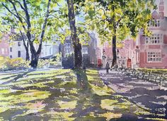 """Watercolour painting of """"Mount Street Gardens"""" London"""