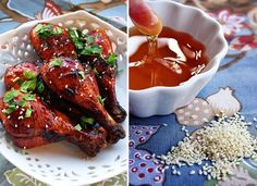 Sweet 'n Sticky Baked Chicken Drumsticks cup balsamic vinegar cup honey cup light brown sugar, packed cup low-sodium soy sauce 3 garlic cloves, minced 12 chicken drumsticks 2 Tbsp. Sauce Recipes, Chicken Recipes, Cooking Recipes, Chutneys, Secret Sauce Recipe, Recipe Recipe, Pesto, Baked Chicken Drumsticks, Chicken Wings