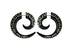 Faux  expander- Horn Gauge- buffalo horn piercing-horn jewelry-Spiral earrings- Tribal jewelry-fake.piercing-Psychedelic. by NELAJAPAN on Etsy