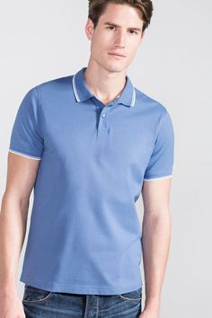 Cortefiel Short sleeve polo Blue