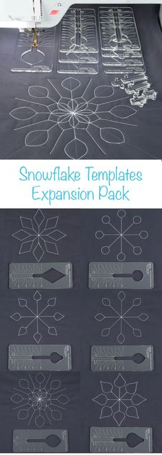 Perfectly-aligned snowflakes are simple with this expansion pack. Designed to be used with the Ruler Foot and Template Set, this pack includes four styles of snowflakes in two sizes, with four keys per style. Use your ruler foot to walk along each template, rotating and pivoting as you go for perfect snowflakes. Ruler Foot Quilting - Nancy's Notions