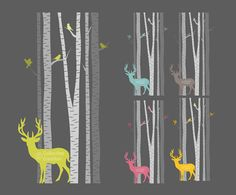 The dark background may be nice too. :) Deer & Birds amongst the Birch Trees Clip by CollectiveCreation