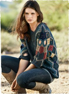 Sweater artistry, this intriguing pullover is grounded in North Sea blue pima and intarsia knit in a patchwork of zigzag pointelle and lacy openwork. Hand-finished circular cutouts add sculptural interest to the dolman, ¾-sleeves. Trench Coats, Moda Peru, Alpaca Poncho, Peruvian Connection, Boho Fashion, Fashion Outfits, Crochet Woman, Crochet Clothes, Ravelry
