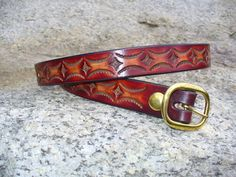 1 Tooled Leather Belt no buckle by BobLealLeather on Etsy