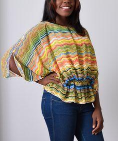 Look at this #zulilyfind! Red & Yellow Zigzag Blouson Top - Plus by Monroe & Main #zulilyfinds