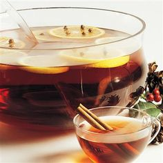 Spiced Cider: This hot beverage will greet your guests with a wonderful aroma. If desired, garnish cider with orange slices studded with whole cloves.