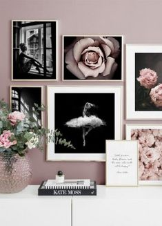 Gallery wall black and white photo art pink flowers - Wall art with beautiful posters and art prints - Find inspiration for your personal wall art with posters & art prints from Posterstore.se Spice up your living room or bedroom. Living Room Pictures, Wall Art Pictures, Inspiration Wand, Living Room Decor, Bedroom Decor, Cozy Bedroom, My New Room, Interior Design Inspiration, Gallery Wall