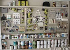 Tutorial for Organizing the Garage with a Pegboard Storage Wall. Tutorial for making a pegboard storage wall that is a great solution for organizing the garage. Step-by-step instructions and great tips for layout. Pegboard Garage, Diy Garage Storage, Garage Walls, Organized Garage, Hang Pegboard, Tool Storage, Paint Storage, Storage Systems, Garage Cabinets