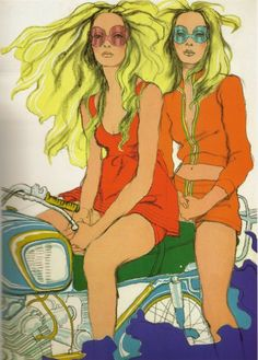 60's early 70's - by Antonio Lopez  Reminds me of me and my twin sister traveling through Europe!