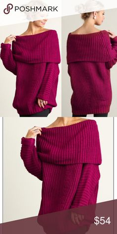 ❣️NEW❣️ Berry Knit Chunky Oversized Sweater Beautiful berry colored oversized sweater. Fold over top. Runs big so size down. If you choose the XL at checkout L will be sent as this comes in S M L but runs big Sweaters Cowl & Turtlenecks