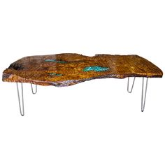 Redwood Coffee Table with Malachite Inlay  | From a unique collection of antique and modern coffee and cocktail tables at http://www.1stdibs.com/furniture/tables/coffee-tables-cocktail-tables/