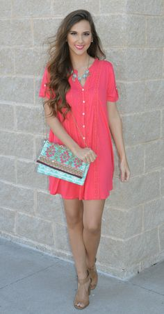 Go Casual In Cabo With This Adorable Tshirt Dress With Crochet Lace Detailing!