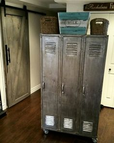Vintage lockers brought back to life! Stripped MANY layers of old paint, sanded multiple times and used a mineral spray to give it an aged industrial look. Brings out all the natural colours in the steel.Perfect for any modern farm house decor!