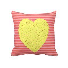 Kids Coral & Pink Stripe Heart Throw Pillow #kids #pillow