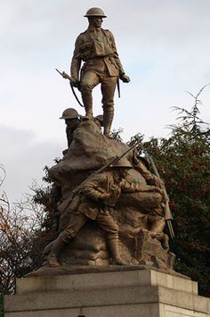 Oldham War Memorial, stands in the town centre, in front of St Mary's Parish Church, Oldham
