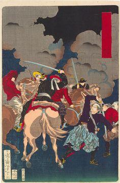 Tsukioka Yoshitoshi (1839-1892): Eight Views of Warriors in the Provinces: Fushimi in Yamashiro, woodblock print, 1871.