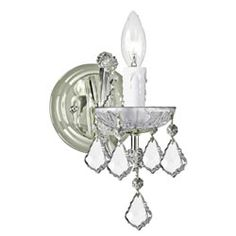 @Overstock.com - Update the look of your room with this elegant chrome wall sconce by Maria Theresa. With its traditional style and beautiful chrome finish, this wall sconce adds a classic touch to your home. The hand polished crystal shade enhances the sconces appeal.http://www.overstock.com/Home-Garden/Maria-Theresa-1-light-Chrome-Wall-Sconce/5672611/product.html?CID=214117 $84.99