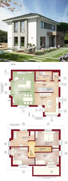 Stadtvilla modern mit Walmdach Architektur & Erker Anbau Fassade grau - Haus bauen Grundriss Einfamilienhaus Edition 4 V6 Bien Zenker Fertighaus Ideen - HausbauDirekt.de