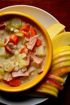 Crock Pot Potato, Barley & Canadian Bacon Soup from Iowa Girl Eats