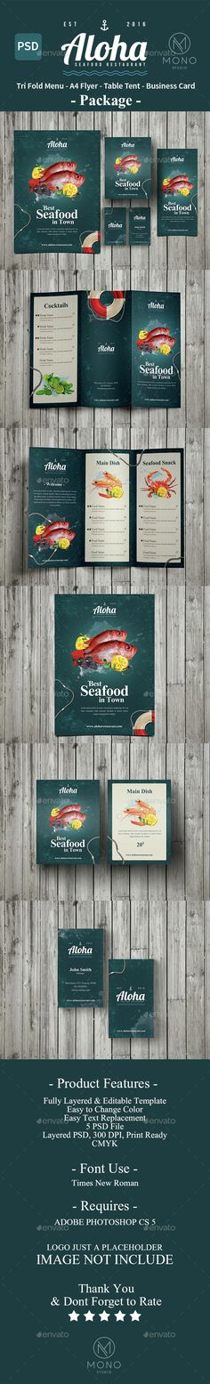 Seafood Menu Package Templates PSD. Download here: http://graphicriver.net/item/seafood-menu-package/14188835?ref=ksioks