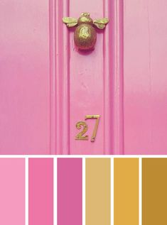 Pink and Gold Door color inspired. Pink and Gold color palette ,Pink Door inspired bedroom color #colorpalette #colorinspiration #color #bedroom