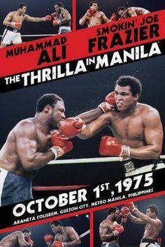 Muhammad Ali (Thrilla in Manila, vs Joe Frazier, Color) Sports Poster Print - Poster Print, Kickboxing, Jiu Jitsu, Muay Thai, Boxe Fight, Boxe Fitness, Thrilla In Manila, Muhammad Ali Boxing, Smokin Joes, Boxing Posters