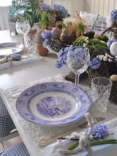 Table set with blue and white transferware plates