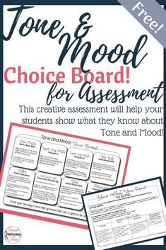 Looking for a fun and creative way to have your students demonstrate mastery of Tone and Mood? Check out this choice board assessment! Writing Skills, Writing Activities, Teaching Tips, Teaching Reading, School Resources, Teacher Resources, Instructional Strategies, Instructional Technology, Choice Boards
