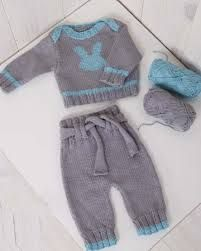 Baby Ligt Green-Ligt Grey Line Hand knitted Overalls with detailed cabled bodice and Sweater Free Baby Sweater Knitting Patterns, Knit Baby Sweaters, Baby Hats Knitting, Knitting For Kids, Baby Patterns, Baby Boy Dress, Knit Baby Dress, Baby Pants, Baby Outfits