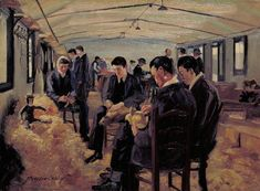 John Hodgson Lobley - The Queen's Hospital for Facial Injuries, Frognal, Sidcup- The toy-makers' shop - 1918 Military Art, Military History, World War One, First World, Ww1 Art, Google Art Project, Killed In Action, First Art, Royal Navy