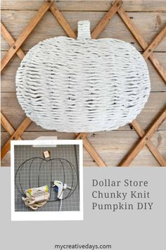 This Dollar Store Chunky Knit Pumpkin DIY is so easy to make and it only costs $4 to create. It looks amazing when it's done. Make a few!