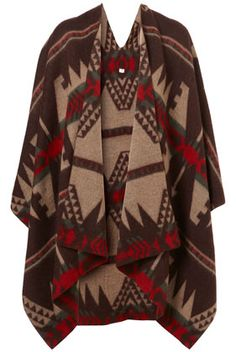 Aztec Blanket....great look! This is so me! Drop this over some brown chino capris and a red tank top with a woven dark brown leather wide belt. Oh yes!